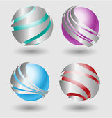 Elehant  metallic balls with silver embellishment — Stock Vector