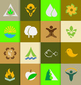 Mix of ecology and nature flat icons — Stock Vector