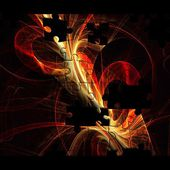 Kreative farbenmosaik hintergrund mit fraktalen puzzle — Stockfoto