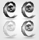 Stylized black spiral halftone icons — Stock Vector