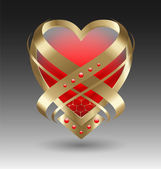 Elegant metallic heart embleme with embellishment — Stock Vector