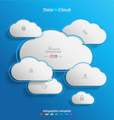 Elegant empty clouds on blue background — Stock Vector