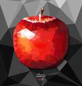 Abstract polygon background with apple — 图库矢量图片