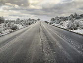 Road with snow — Stock Photo