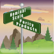 Stock Photo: Marketing sign of nominal scale and parity products