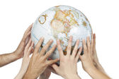 Hands holding the globe — Stock Photo