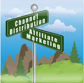 Signboard with channel distribution and affiliate marketing — Stock Photo