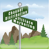 Marketing sign of channel distribution and affiliate marketing — Stock Photo