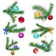 Royalty-Free Stock Obraz wektorowy: Christmas tree branches with Christmas balls