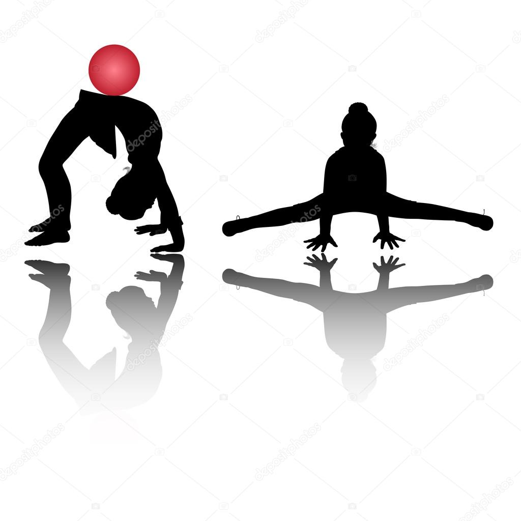 Silhouette of two girls, who is engaged in gymnastics — Stock Vector #16284413