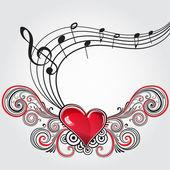 Grunge music heart — Stock Vector