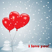 Balloons heart with snow — Vector de stock