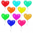 Set of colorful balloons in the form of heart — Stock Vector