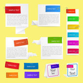 Paper labels with clips — Stock Vector