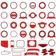 Set of sale badges, labels and stickers without text in red - Stock Vector
