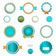 Set of sale badges, labels and stickers without text in light blue — Stock Vector #20360943
