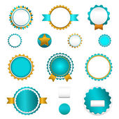 Set of sale badges, labels and stickers without text in light blue — Vecteur