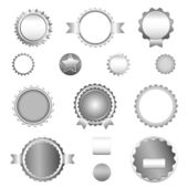 Set of sale badges, labels and stickers without text in gray — Stock Vector