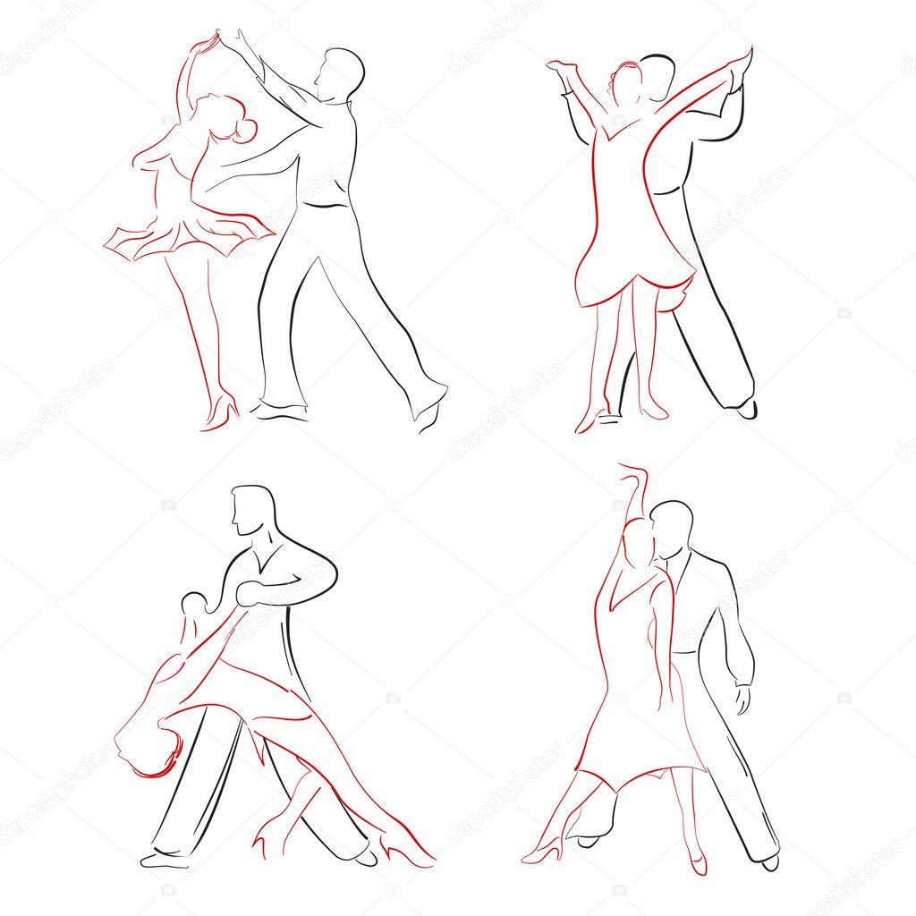 Танцующая пара нарисовать поэтапно