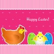 Easter card with chicken, chick and two eggs — Stock Vector