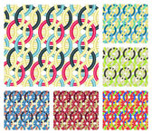 Entwined rings. Seamless patterns. — Stock Vector