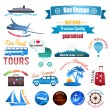 Stock Vector: Set of labels, badges and stickers on travel