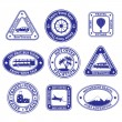 Set of travel and tourism stamps and badges — Stock Vector