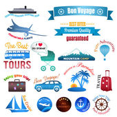 Set of labels, badges and stickers on travel — Stock Vector