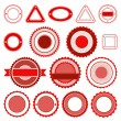 Set of badges, labels and stickers without text in red — Imagen vectorial