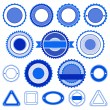 Stock Vector: Set of badges, labels and stickers without text in blue