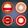 Set of sale badges, labels and stickers in red without text — Vector de stock #23855679