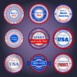 Sale labels and stickers on Made in the USA — Imagens vectoriais em stock