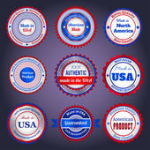 Sale labels and stickers on Made in the USA — Stock Vector