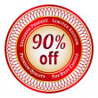Label on 90 percent discount - Stock Vector