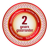 Label on 2 year guarantee — Stock Vector