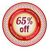 Label on 65 percent discount — Stock Vector