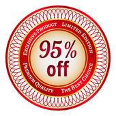 Label on 95 percent discount — Stock Vector