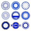 Set of badges, labels and stickers without text in blue - Stock Vector
