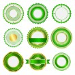 Set of badges, labels and stickers without text in green — Stock Vector