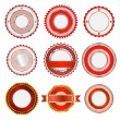 Set of badges, labels and stickers without text in red — Stock Vector