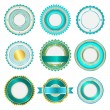 Stock Vector: Set of badges, labels and stickers without text in turquoise