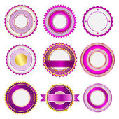 Set of badges, labels and stickers without text in pink — Stock Vector