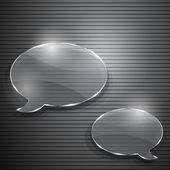Two speech bubbles from glass on gray striped background — Stock Vector