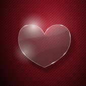Hart van glas op rode gestreepte achtergrond — Stockvector