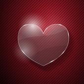 赤い縞模様の背景上にガラスの心 — ストックベクタ