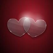Twee harten van glas op rode gestreepte achtergrond — Stockvector