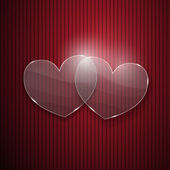 Two hearts from glass on red striped background — Stock Vector