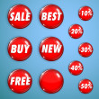 Set of red shiny buttons on sale — Stock Vector