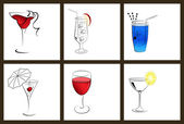 Set of cocktail glasses and wine glasses. — Stock Vector