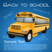School bus on blue background — Stock Vector